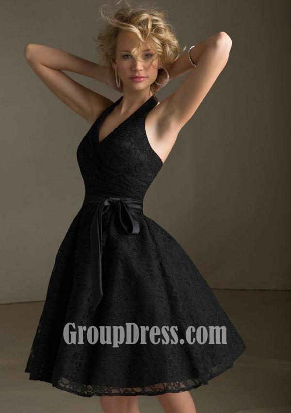 black-lace-halter-sleeveless-a-line-short-prom-dress-with-sash-1
