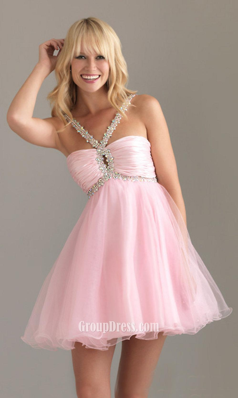 Pink beaded straps sleeveless a line short empire ruched for Pink homecoming dresses