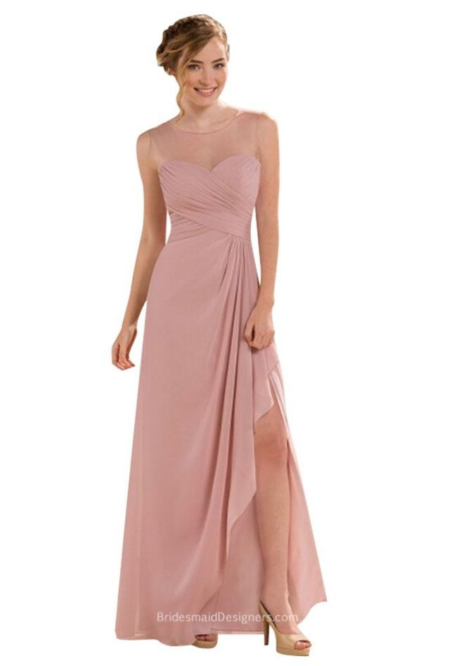 illusion-neck-sleeveless-blush-a-line-ruffled-long-chiffon-bridesmaid-dress-slit-1